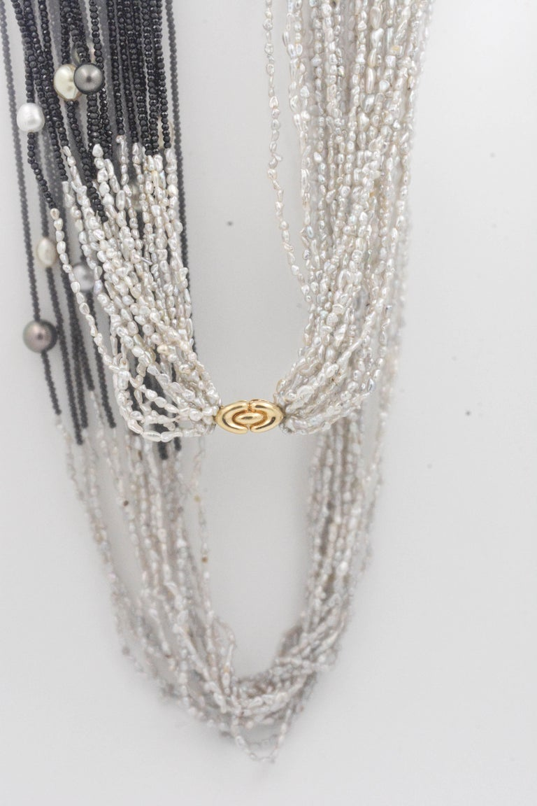 Tahitian Pearls Black Spinel Multi Strand Necklace 18