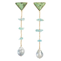 Silver Tahitian, Turquoise, and Aquamarine in 18 Karat Gold Statement Earrings
