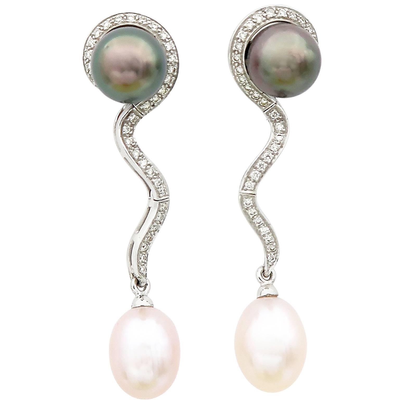 Tahitian Pink Freshwater Pearl Diamond Detachable Drop Earrings Worn as Studs