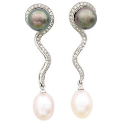 Tahitian Pink Freshwater Pearl Diamond Detachable Drop Earrings Worn as Studs