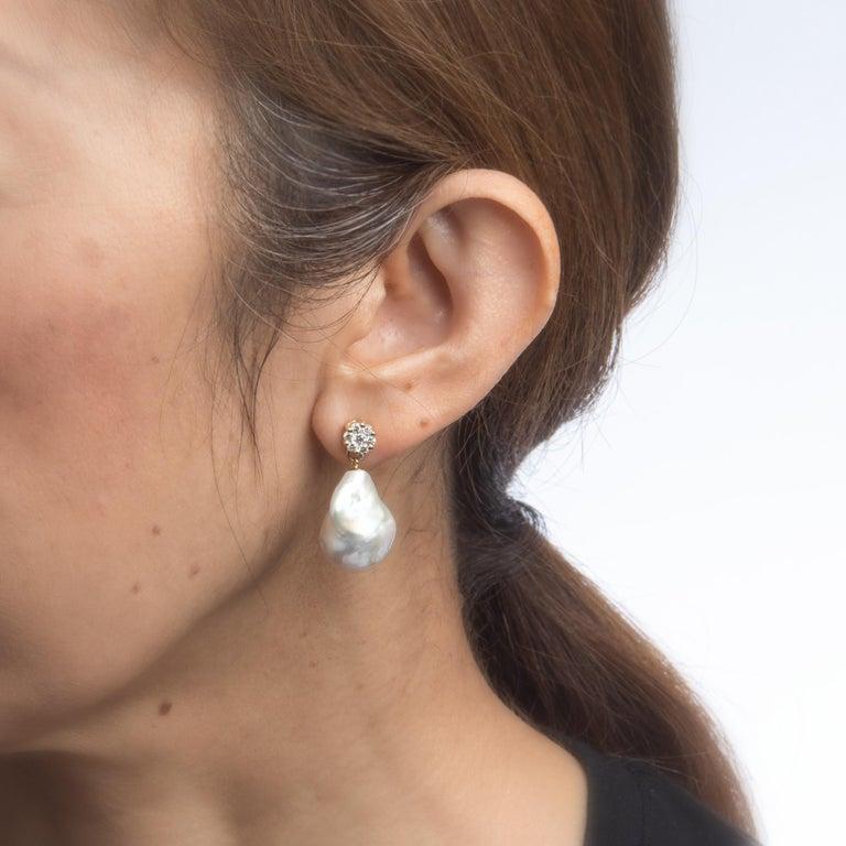 Modern Tahitian South Sea Baroque Pearl Diamond Drop Earrings Estate Jewelry 14k Gold For Sale