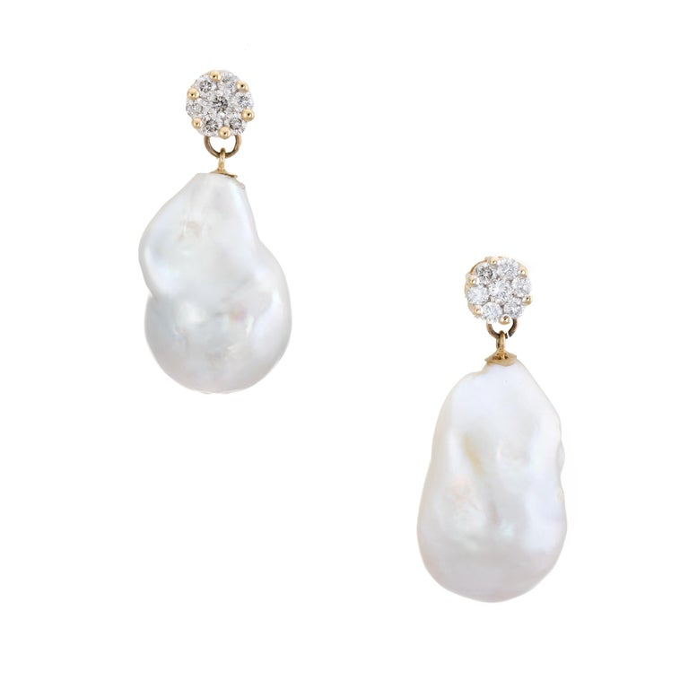 Tahitian South Sea Baroque Pearl Diamond Drop Earrings Estate Jewelry 14k Gold For Sale
