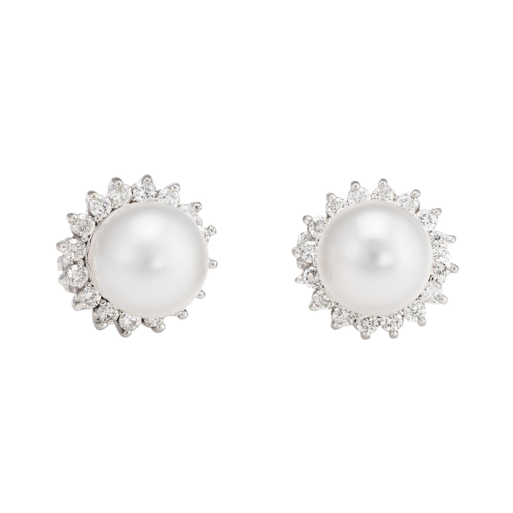 Tahitian South Sea Pearl Diamond Earrings Vintage 14k White Gold Jewelry