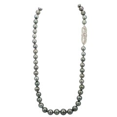 Tahitian South Seas Black Pearl Necklace with Diamond Deco Plaque