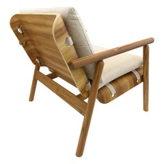 Tai Armchair in Teak with Strapped Oatmeal Chair Seat and Inside Chair Back