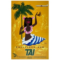 TAI Pacifique Sud/South Pacific 1958 Travel Poster, Morvan