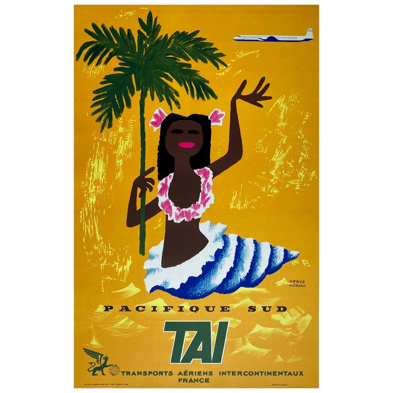 TAI Pacifique Sud/South Pacific 1958 Travel Poster, Morvan For Sale