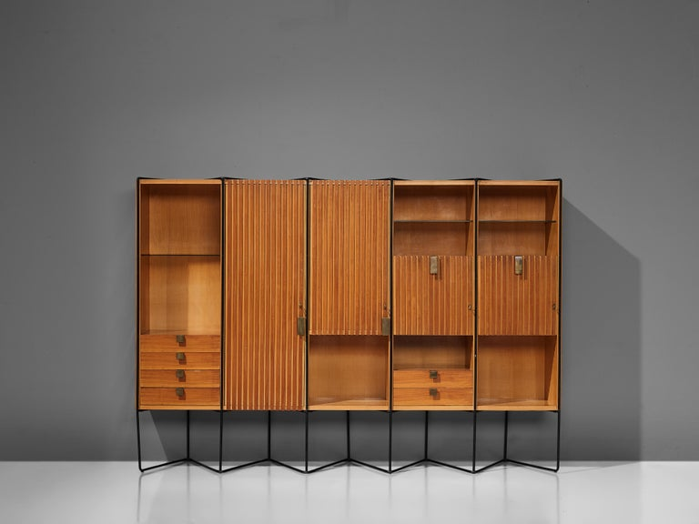 Brass Taichiro Nakai Cabinet in Maple and Mahogany For Sale