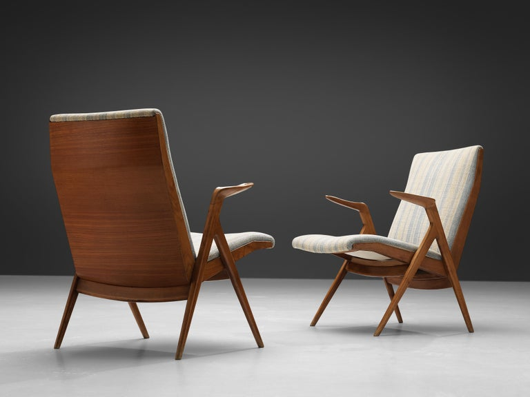 Taichiro Nakai, La Permanente Mobili Cantù, pair of armchairs, cherry, striped fabric upholstery, Italy, 1950s  Rare pair of armchairs, designed by Taichiro Nakai and executed by La Permanente Mobili. This wonderful pair of lounge chairs have an