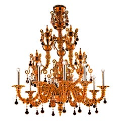 Taif 5350 09 Chandelier in Glass with Chrome, by Barovier&Toso