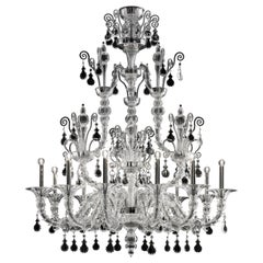 Taif 5350 12 Chandelier in Glass with Chrome, by Barovier&Toso
