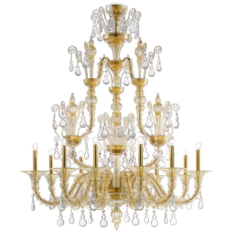 Taif 5350 12 Chandelier in Gold Glass, by Barovier&Toso For Sale
