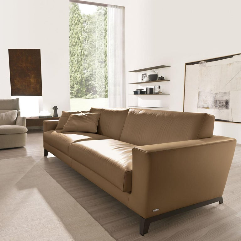 Italian Tailor Light Brown Leather Sofa For