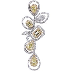 Tailor Made 18 Karat White and Yellow Gold, and Diamond Earring and Pendant Set
