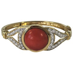 Tailored Coral, Diamond and Yellow Gold Bangle