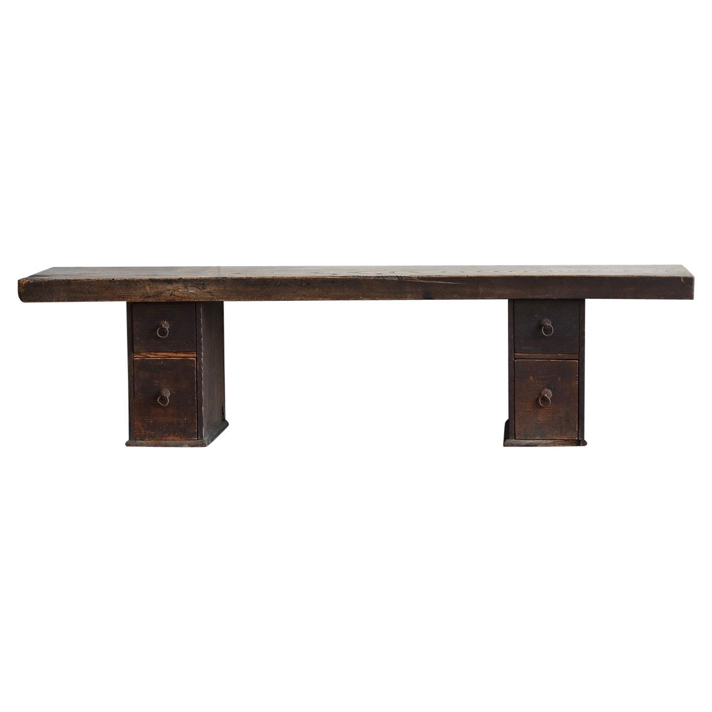 Taisho Era-Early Showa Era Japanese Antique Craftsman's Work Table /Coffee Table
