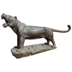 Taisho Period '1912-1926' Bronze Tiger by E. Oyamatsu