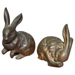 Taisho Period '1912-1926' Japanese Bronze Rabbits
