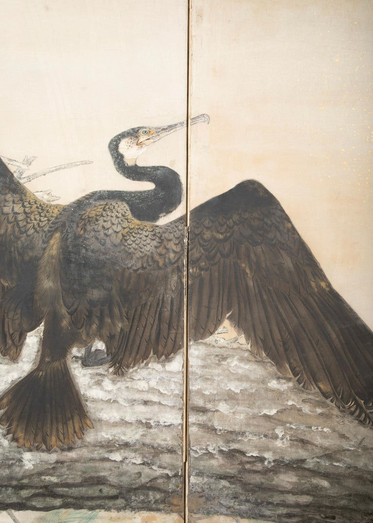 Taisho Period Painted Silk Screen Depicting Nesting Cormorants by Asami Joujou For Sale 4