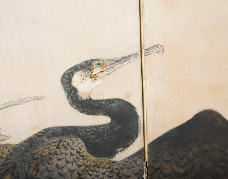Taisho Period Painted Silk Screen Depicting Nesting Cormorants by Asami Joujou For Sale 5