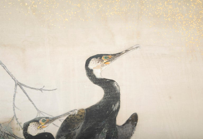 Taisho Period Painted Silk Screen Depicting Nesting Cormorants by Asami Joujou For Sale 6
