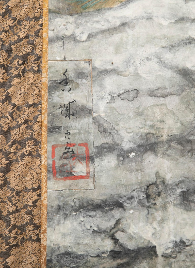 Taisho Period Painted Silk Screen Depicting Nesting Cormorants by Asami Joujou For Sale 9