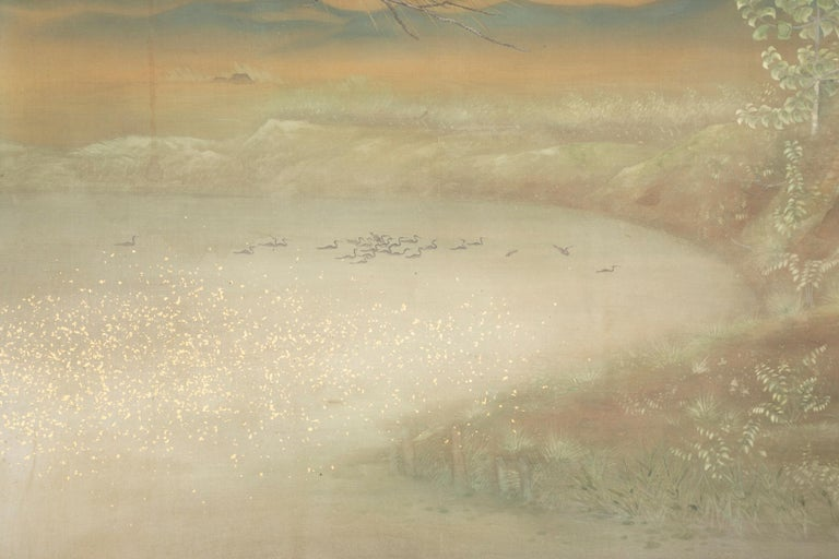 Hand-Painted Taisho Period Painted Silk Screen Depicting Nesting Cormorants by Asami Joujou For Sale