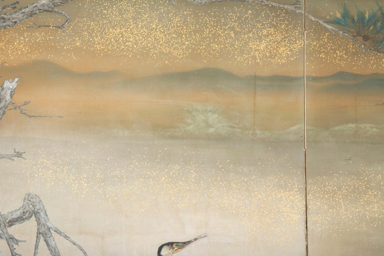 Taisho Period Painted Silk Screen Depicting Nesting Cormorants by Asami Joujou In Good Condition For Sale In Stamford, CT
