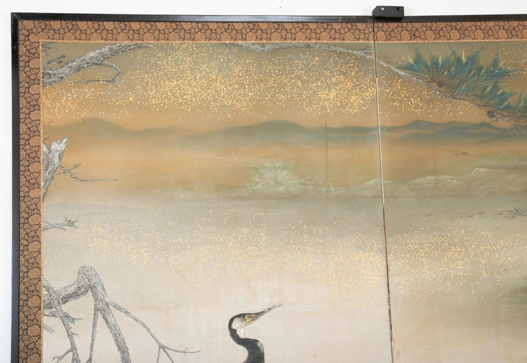 Taisho Period Painted Silk Screen Depicting Nesting Cormorants by Asami Joujou For Sale 2