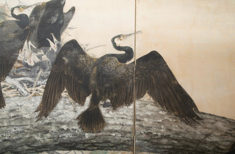Taisho Period Painted Silk Screen Depicting Nesting Cormorants by Asami Joujou For Sale 3