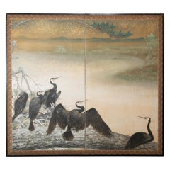 Taisho Period Painted Silk Screen Depicting Nesting Cormorants by Asami Joujou