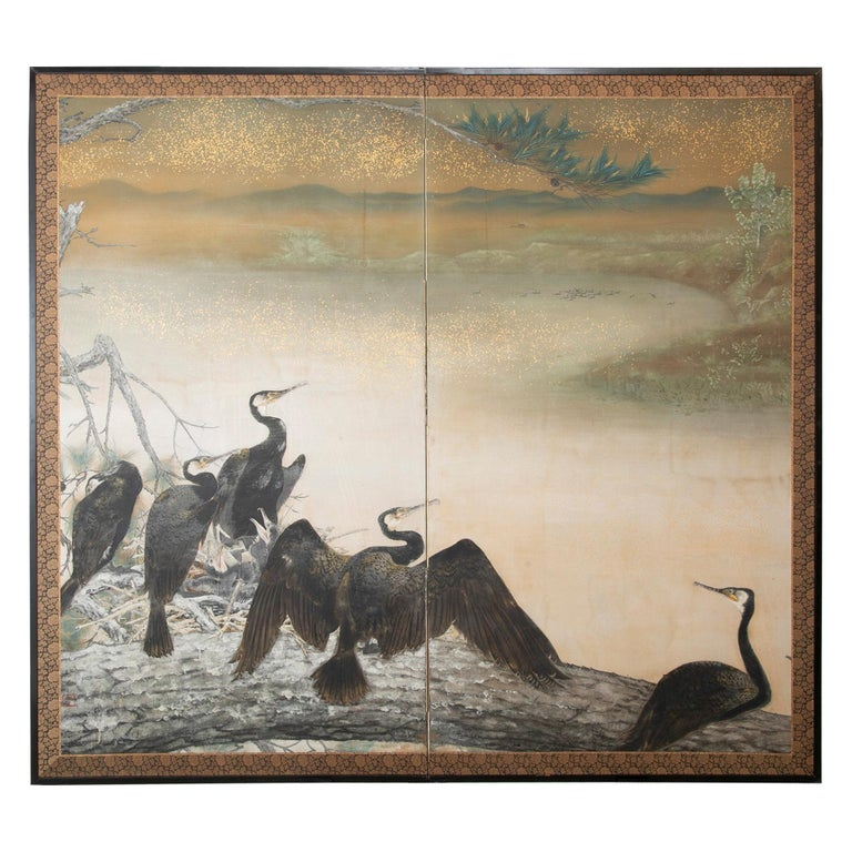 Taisho Period Painted Silk Screen Depicting Nesting Cormorants by Asami Joujou For Sale