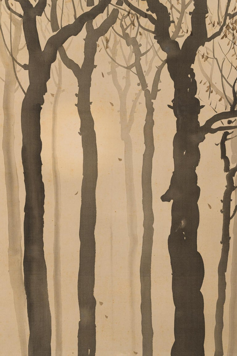 Japanese Taisho Period Scroll of Winter Trees For Sale