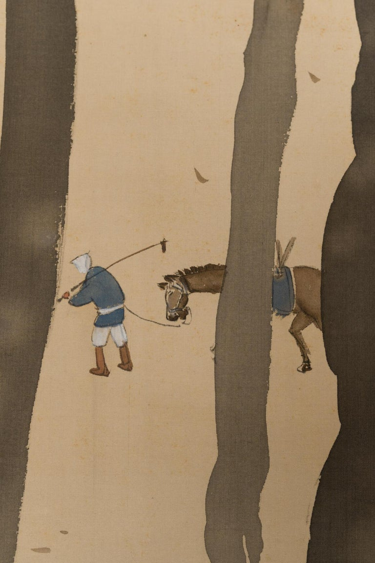 Paper Taisho Period Scroll of Winter Trees For Sale