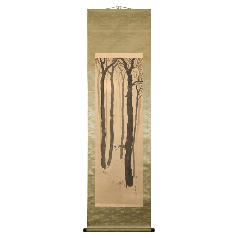 Taisho Period Scroll of Winter Trees For Sale