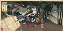 Ôkubo Hikozaemon Protects the Hidden Shogun Triptych
