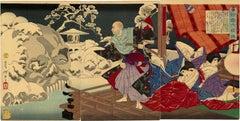 Taira no Kiyomori Sees Skulls in the Snowy Garden Triptych