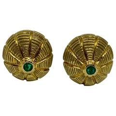 Taj Mahal Cufflinks in 18 Karat Yellow Gold with Emeralds