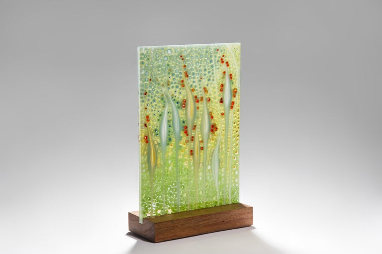 Organic Modern Takamaka La Digue, a Unique Green and Red Glass Sculpture by Sandra A. Fuchs For Sale