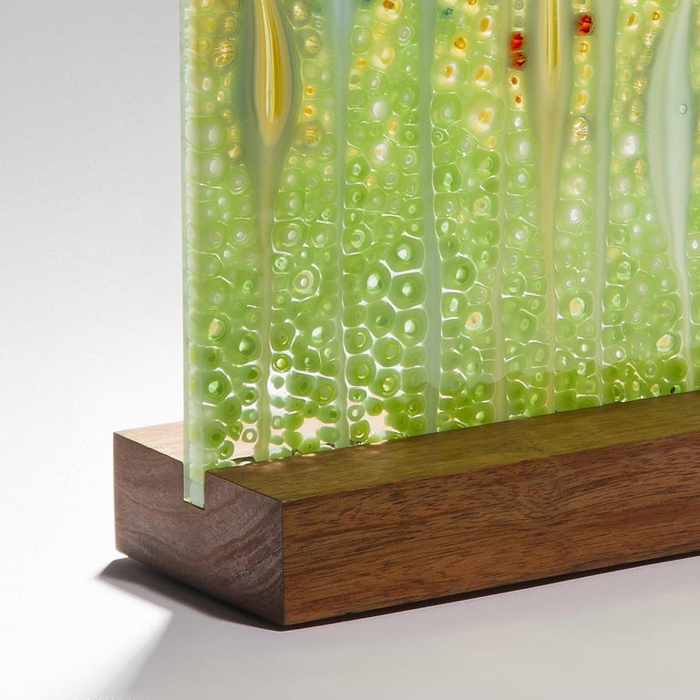 Hand-Crafted Takamaka La Digue, a Unique Green and Red Glass Sculpture by Sandra A. Fuchs For Sale