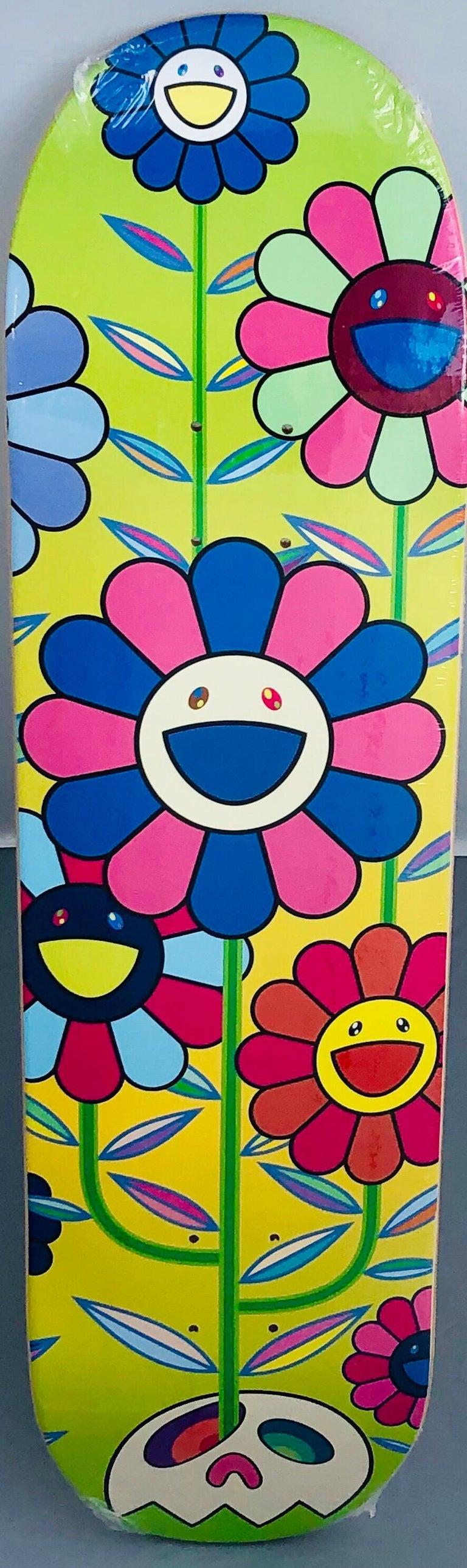 Murakami Flowers skateboard deck (Takashi Murakami flowers)  - Street Art Mixed Media Art by Takashi Murakami
