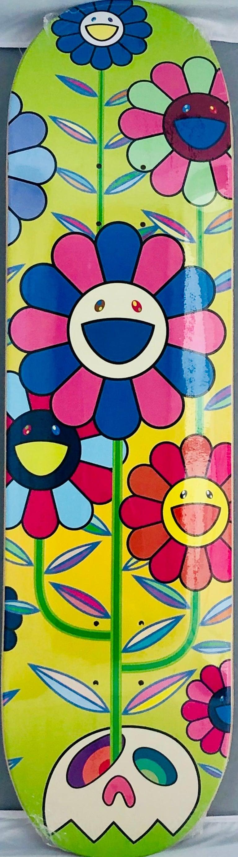 Murakami Flowers skateboard deck (Takashi Murakami flowers)  - Mixed Media Art by Takashi Murakami