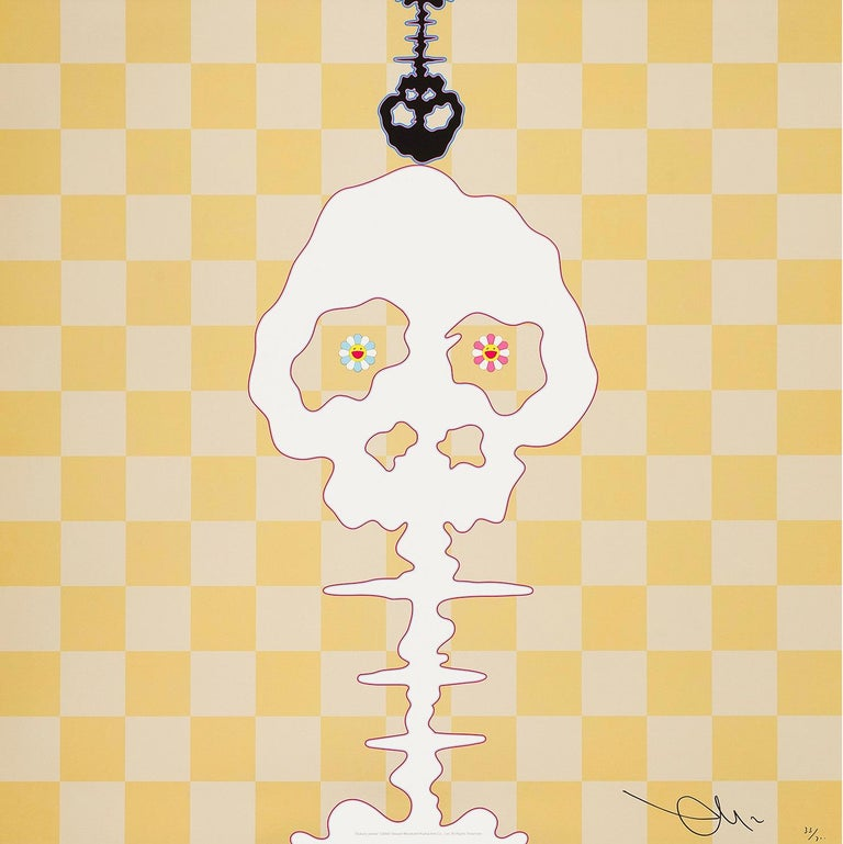 Dokuro (yellow), 2000 by Takashi Murakami Offset print, numbered and signed by the artist in gold and silver ink 19 11/16 × 19 11/16 in 50 × 50 cm Edition  43/300  Dokuro (literally starving skeleton) are legendary creatures in Japan