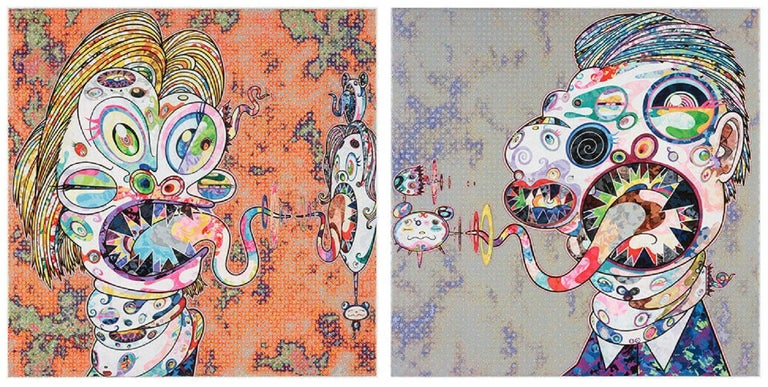 Homage to Francis Bacon (Study for Heard of Isabel Rawsthorne and George Dyer) (a set of 2) 2016 by Takashi Murakami 2 offset prints, numbered and signed by the artist 19 11/16 × 19 11/16 in 50 × 50 cm (each) Edition  171/300 and 181/300  About the