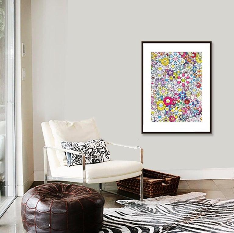 Murakami Champagne Supernova: Multicolor Pink & White Stripes (2013) - unframed - Print by Takashi Murakami