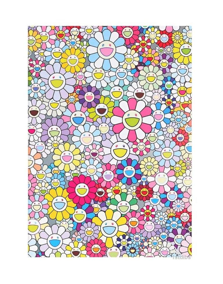 Takashi Murakami Abstract Print - Murakami Champagne Supernova: Multicolor Pink & White Stripes (2013) - unframed