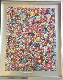 Murakami print of iconic flowers and skulls, red - print unframed - only 1 left