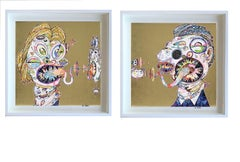 Murakami print - Set of Two (2) prints in gold - custom framed