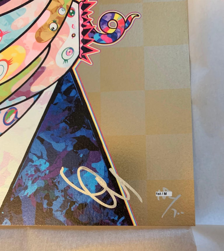 Murakami print - Set of Two (2) prints in gold - sold unframed - Contemporary Print by Takashi Murakami