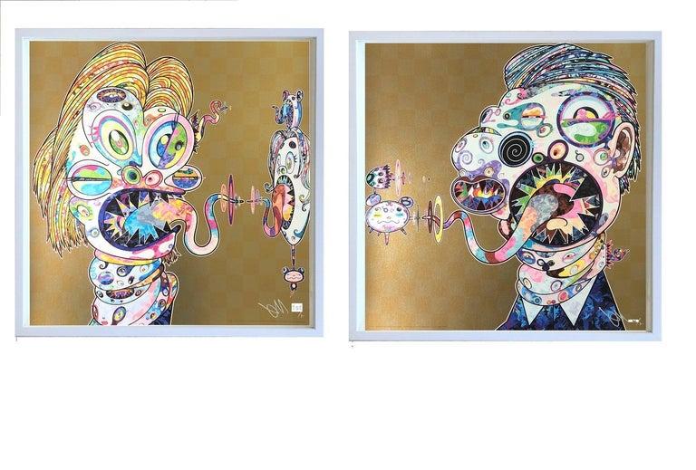 Takashi Murakami Abstract Print - Murakami print - Set of Two (2) prints in gold - sold unframed